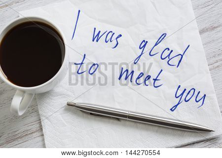 Message written on napkin