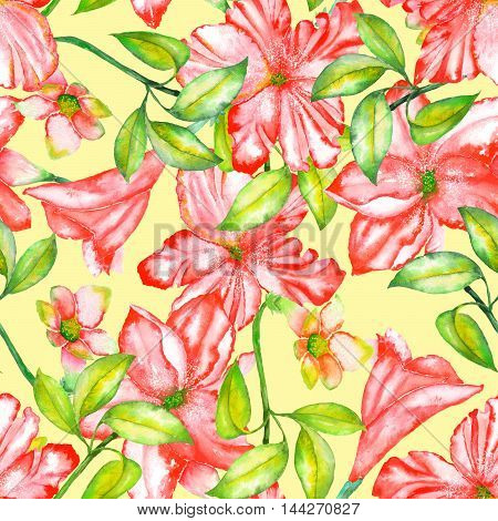 A seamless pattern with the watercolor red exotic flowers, hibiscus on a yellow background