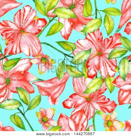 A seamless pattern with the watercolor red exotic flowers, hibiscus on a turquoise background