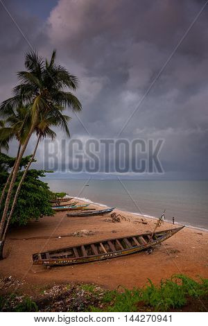 Yongoro Sierra Leone - June 09 2013: West Africa the beaches of Yongoro in front of Freetown
