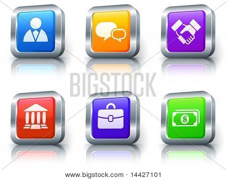 Financial Icons on Square Button with Metallic Rim Collection Original Illustration