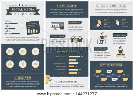 Vintage social media infographics template. Technology and people icons and charts. Computer and camera illustrations. Infographic elements.