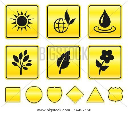 Nature Icons on Yellow Sign Button Collection Original Illustration