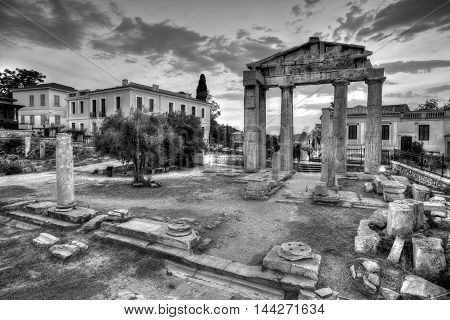 Remains of the Gate of Athena Archegetis and Roman Agora in Athens, Greece. HDR image.
