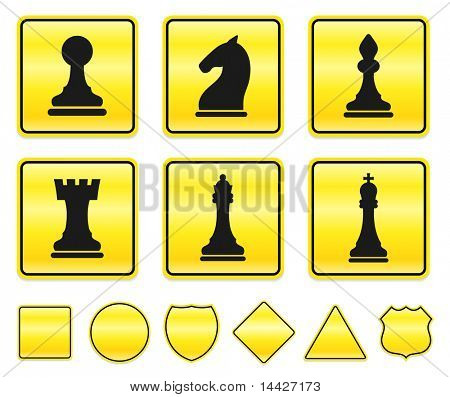 Chess Icons on Yellow Sign Button Collection Original Illustration