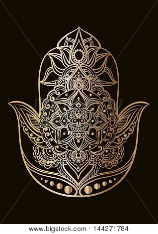Gold line art of a Hand of Fatima (Hamsa) on a black background