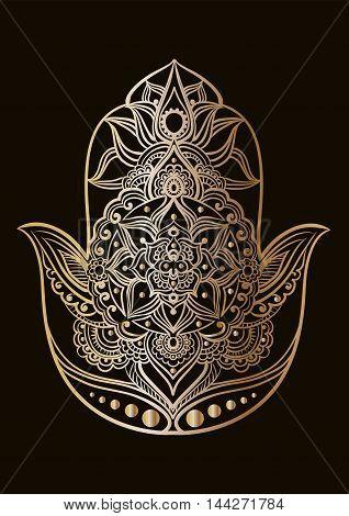 Gold line art of a Hand of Fatima (Hamsa) on a black background