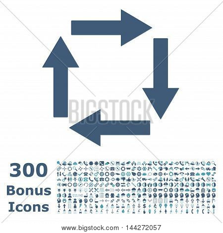 Circulation Arrows icon with 300 bonus icons. Vector illustration style is flat iconic bicolor symbols, cyan and blue colors, white background.