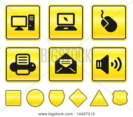 Electronics Icons on Yellow Sign Button Collection Original Illustration