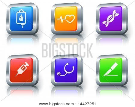 Medical Icons on Square Button with Metallic Rim Collection Original Illustration