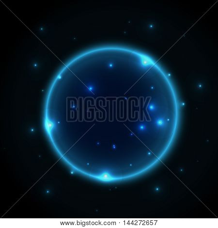 Glowing universe planet. Space vector background with sparkling stars and lines. Abstract galaxy wallpaper.