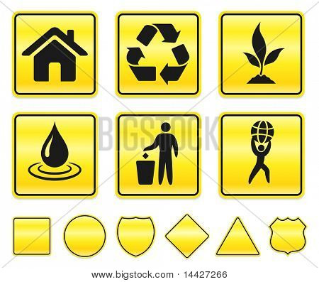 Recycle Icons on Yellow Sign Button Collection Original Illustration