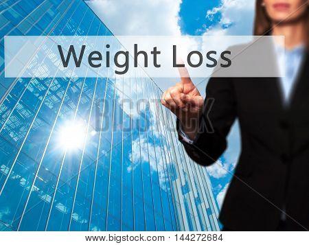 Weight Loss - Businesswoman Pressing Modern  Buttons On A Virtual Screen
