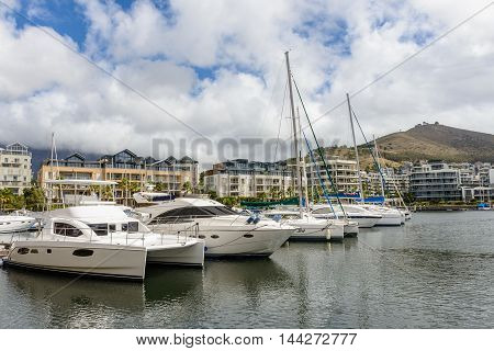 CAPE TOWN, SOUTH AFRICA - FEB 22, 2013: Boat in the harbour of Cape Town, South Africa. Cape town is the most popular international touristic destination in Africa