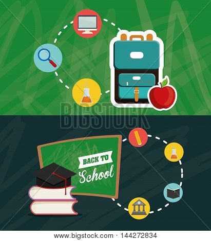 bag lupe flask building cap back to shool education  icon set. Colorful and grunge design. Vector illustration