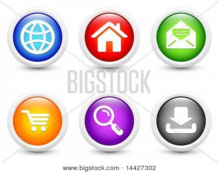 Internet Icon on Simple Round Button Collection Original Illustration