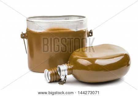military flask container on a white background