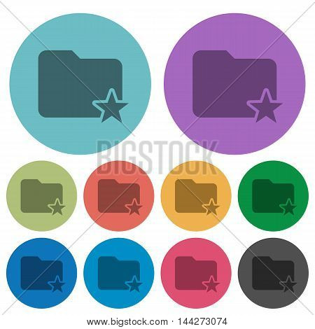 Color Rank folder flat icon set on round background.