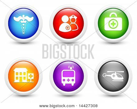 Emergency Icons on Simple Round Button Collection Original Illustration