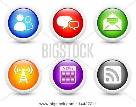 Internet Information Icon on Simple Round Button Collection Original Illustration
