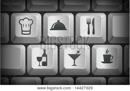 Restaurant Icons on Computer Keyboard Buttons Original Illustration