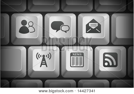 Internet Information Icons on Computer Keyboard Buttons Original Illustration