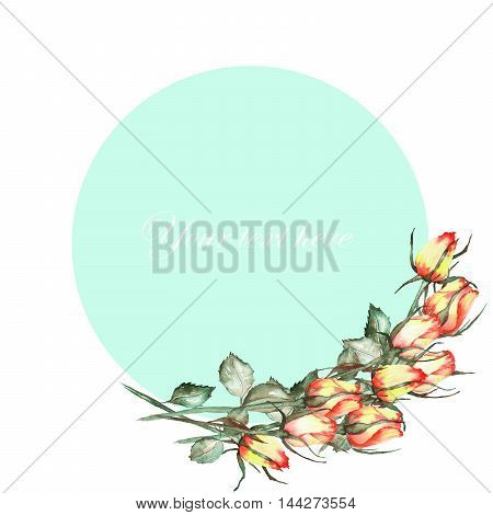A decorative place (banner) with an ornament of the watercolor roses for a text on a mint background, a greeting card, a decoration postcard or invitation