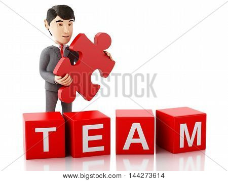 3d Illustration. Businessman with a piece of puzzle with word team. Business concept. Isolated white background.