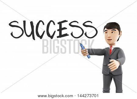 3d Illustration. Businessman with a marker and word success. Business concept. Isolated white background.
