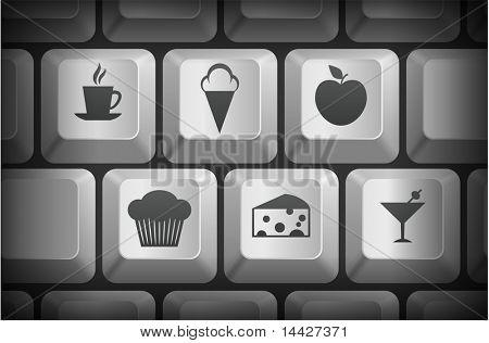 Dessert Icons on Computer Keyboard Buttons Original Illustration