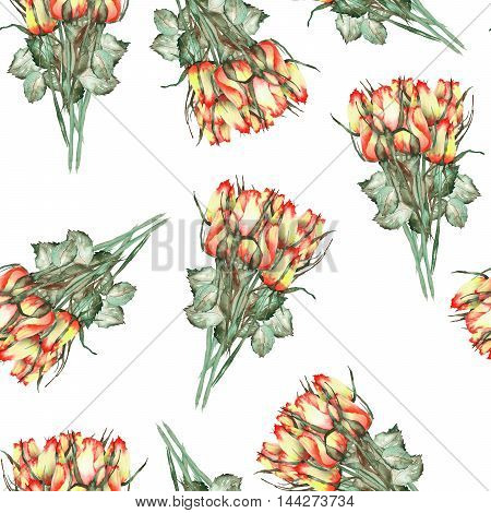 A seamless pattern with the watercolor beautiful bouquets of the red and yellow roses painted  on a white background