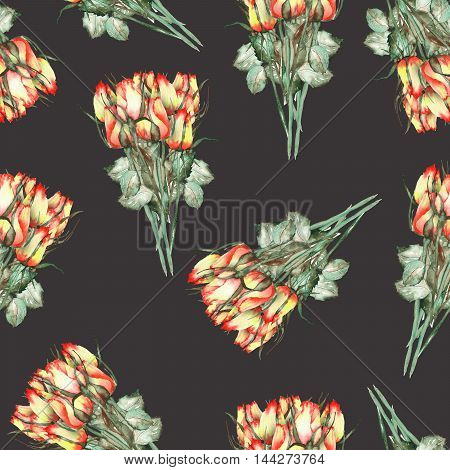 A seamless pattern with the watercolor beautiful bouquets of the red and yellow roses painted  on a black background