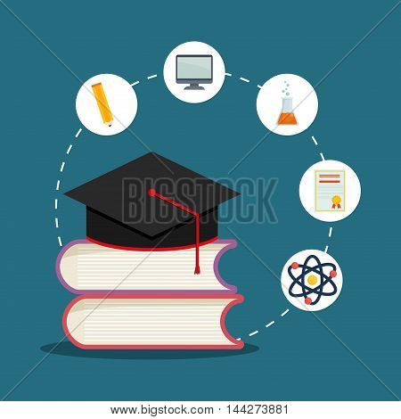 graduation cap books computer flask pencil back to shool education  icon set. Colorful and flat design. Vector illustration