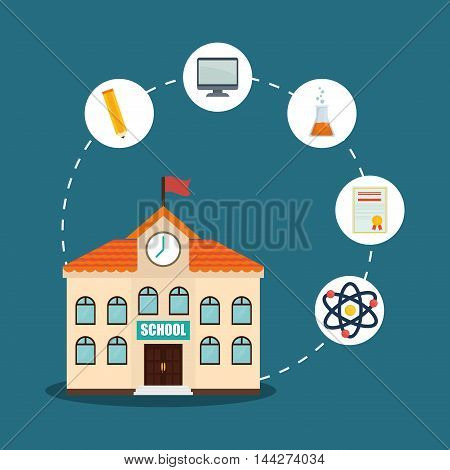 building pencil computer diploma atom back to shool education  icon set. Colorful and flat design. Vector illustration