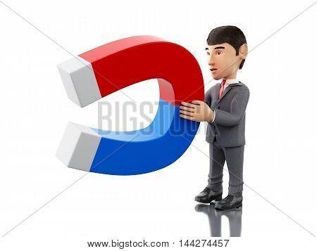 3d renderer image. Businessman with a magnet. Business concept. Isolated white background.