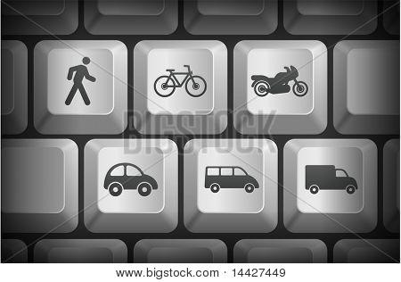Transportation Icons on Computer Keyboard Buttons Original Illustration