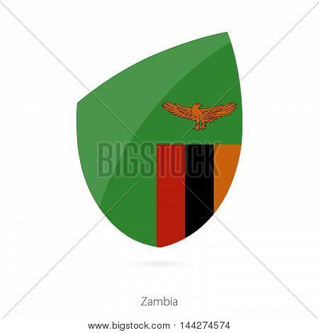 Flag Of Zambia In The Style Of Rugby Icon.