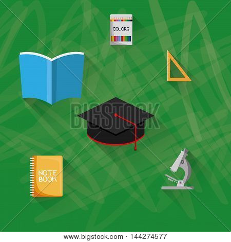 cap book colors microscope back to shool education  icon set. Colorful and grunge design. Vector illustration