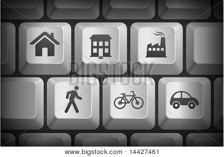 Environment Icons on Computer Keyboard Buttons Original Illustration