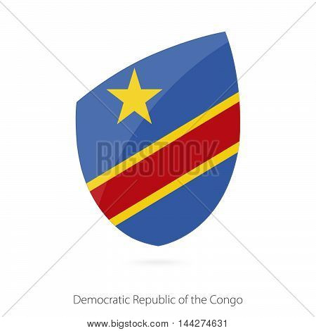 Flag Of Dr Congo In The Style Of Rugby Icon.
