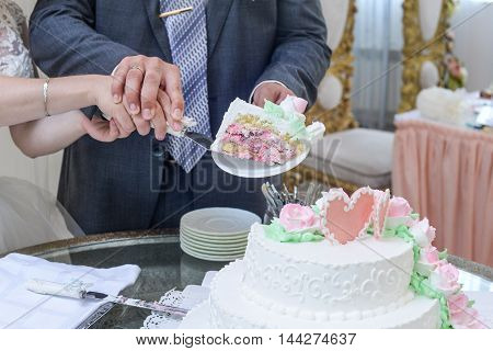 wedding cake for guests at a wedding party