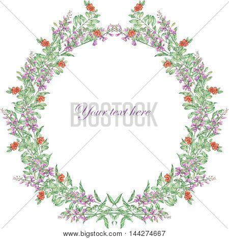 Wreath of salvia and cowberry painted in watercolor on a white background