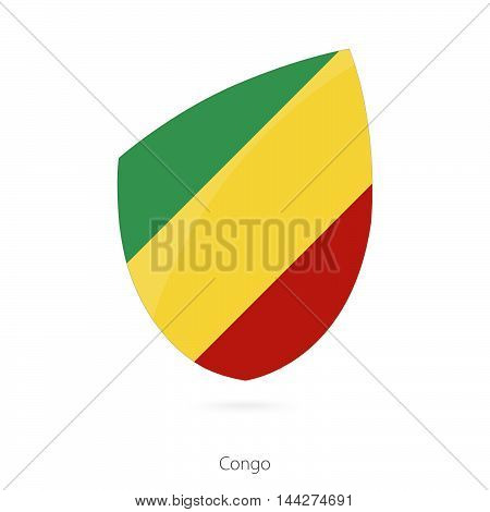 Flag Of Congo In The Style Of Rugby Icon.