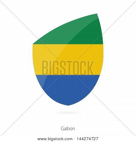 Flag Of Gabon In The Style Of Rugby Icon.