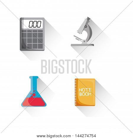 flask calculator microscope back to shool education  icon set. Colorful and flat design. Vector illustration