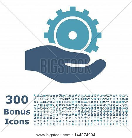 Development Service icon with 300 bonus icons. Vector illustration style is flat iconic bicolor symbols, cyan and blue colors, white background.