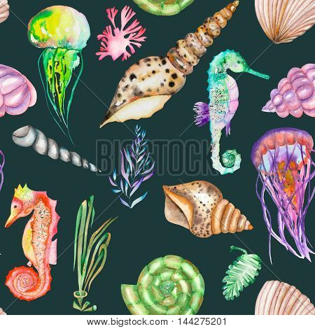 A seamless pattern with the multicolored seahorses, jellyfish, shells and seaweed (algae) painted in a watercolor on a dark blue background