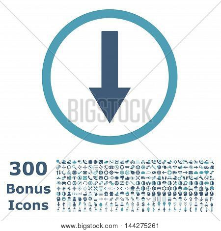 Down Rounded Arrow icon with 300 bonus icons. Vector illustration style is flat iconic bicolor symbols, cyan and blue colors, white background.