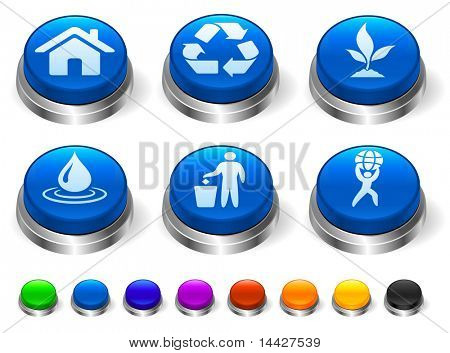 Nature Icon on 3D Button with Metallic Rim Collection Original Illustration
