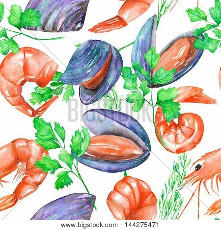 A seamless pattern with the isolated watercolor shrimps, mussels and greenery, hand-drawn on a white background